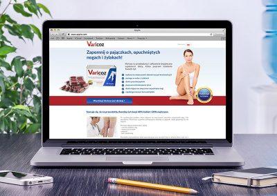 Varicoz: identyfikacja wizualna ,przygotowanie do druku, projekt strony www