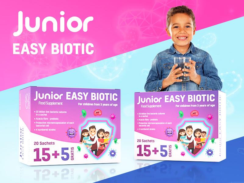 Junior Easy Biotic – projekt opakowanie, przygotowanie do druku, zdjęcia packshot