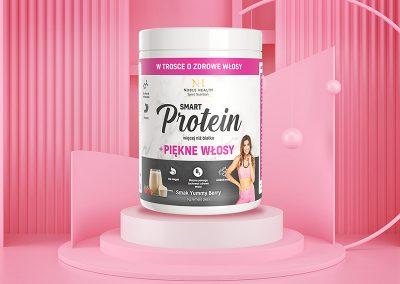 Smart Protein Piękne Włosy – projekt opakowania, przygotowanie do druku, zdjęcia packshot