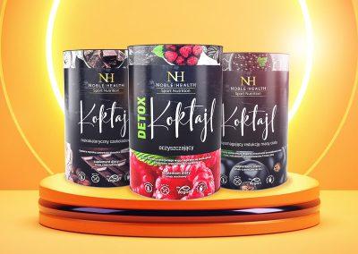 Koktajle Sport Nutrition – projekt opakowania, przygotowanie do druku, zdjęcia packshot